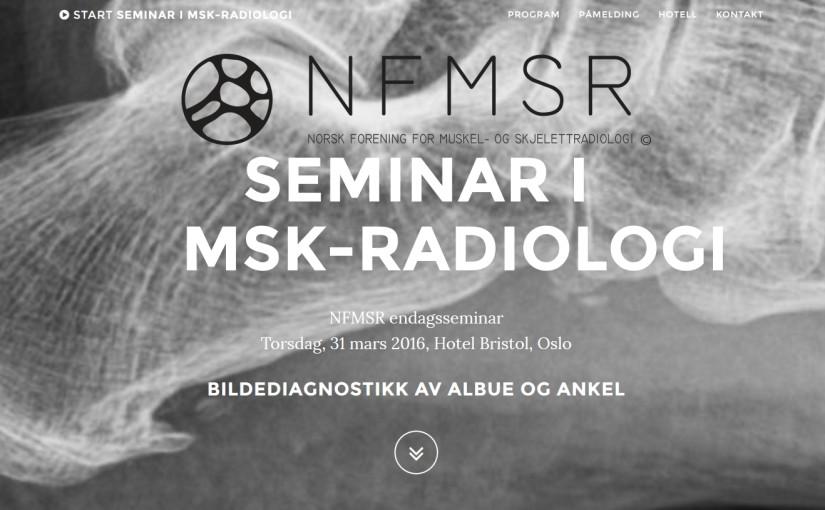Seminarium i muskuloskeletal radiologi, 2016-03-31